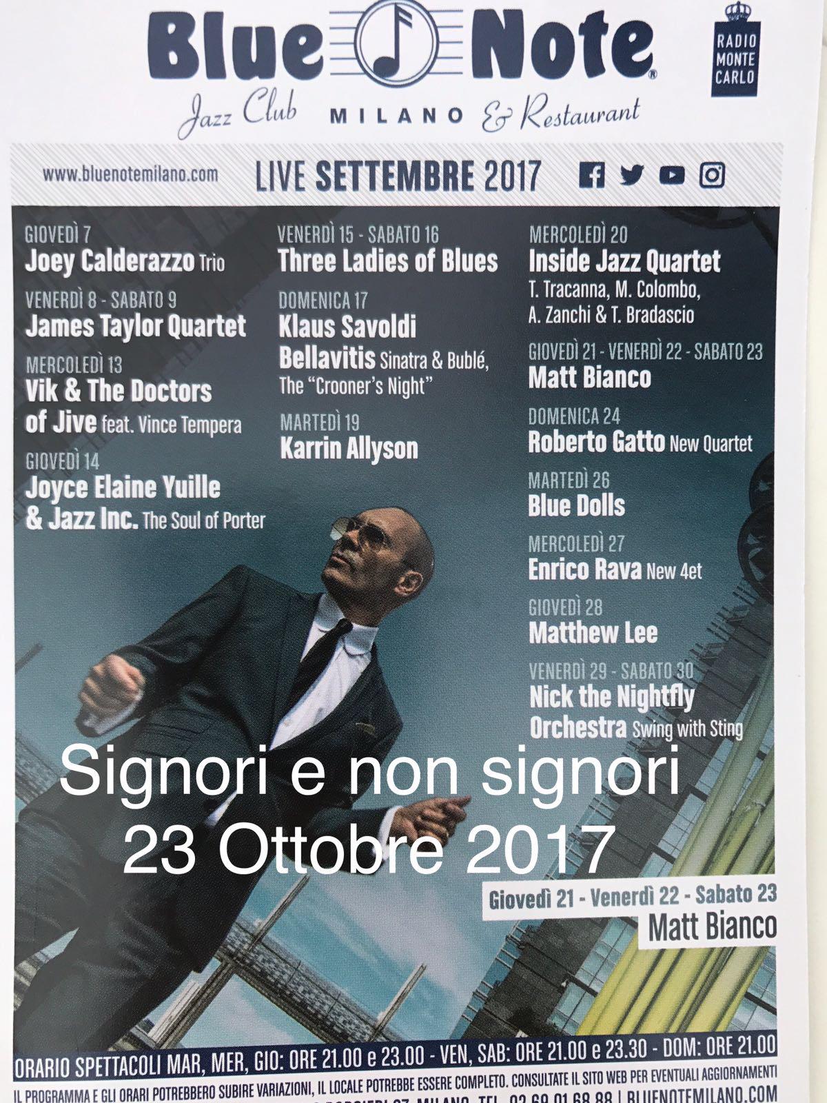 Cover SIGNORI E NON SIGNORI PER DYNAMO CAMP (serata di Lunedì 23 Ottobre al Blue Note)