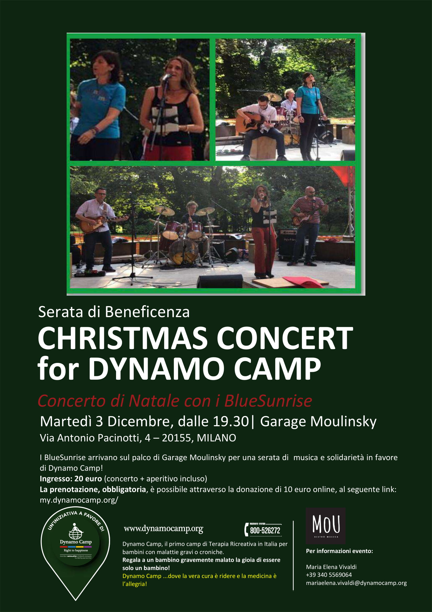 Cover CHRISTMAS CONCERT for DYNAMO CAMP @ Garage Moulinsky